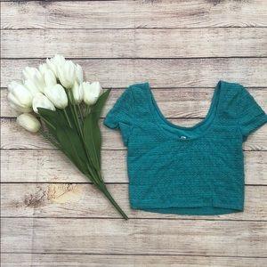 Aqua Blue Lace Crop Top